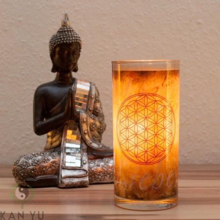 Stearinkerze im Glas-Blume-des-Lebens-antik