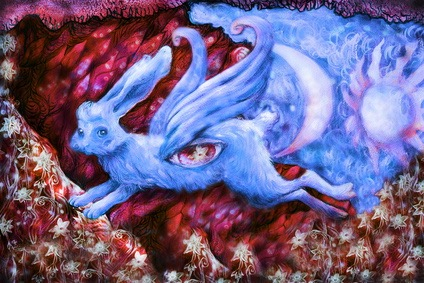blue flying dreamy rabbit in fairy-tale land, illustration.