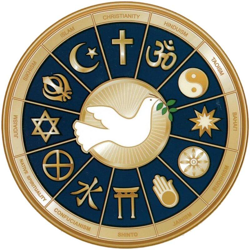 fensterbild die 12 religionen aufkleber spiegel glas 4 9. Black Bedroom Furniture Sets. Home Design Ideas