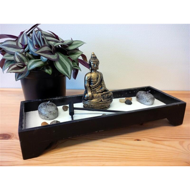 zen garten buddha schwarz mit steinen rechen kerzen 11 9. Black Bedroom Furniture Sets. Home Design Ideas