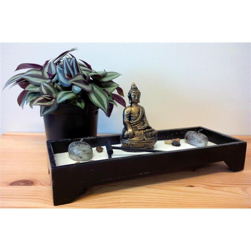 zen garten buddha schwarz mit steinen rechen kerzen 11 9. Black Bedroom Furniture Sets. Home Design Ideas