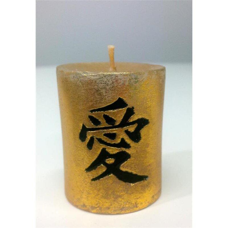 kerze mit chinesischer kalligraphie liebe gold schwarz 5. Black Bedroom Furniture Sets. Home Design Ideas